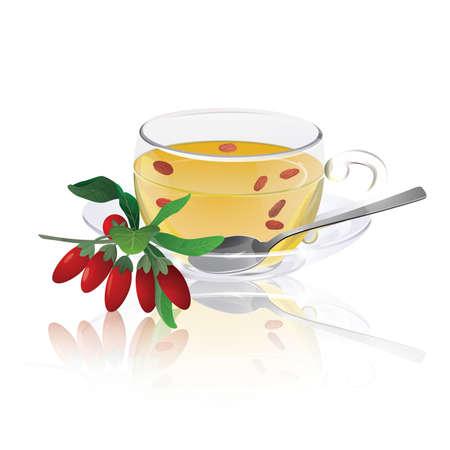Herbal tea with branch of Goji berries