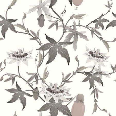 Passion flower seamless background