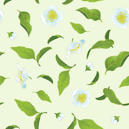 Tea leafs and flowers seamless background Illustration