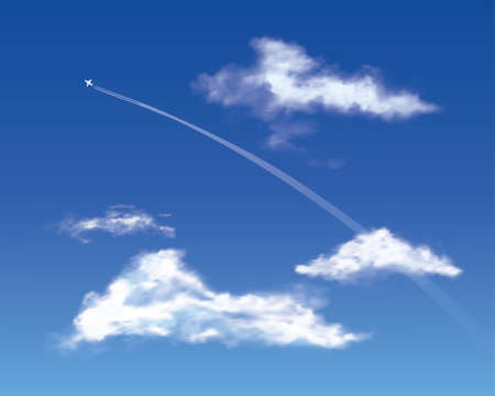 deep blue: Jet in a deep blue sky with clouds