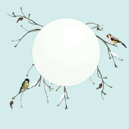 Winter card with titmouse and goldfinch
