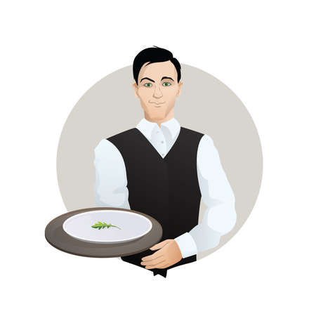 Young waiter holding plate of salad Illustration