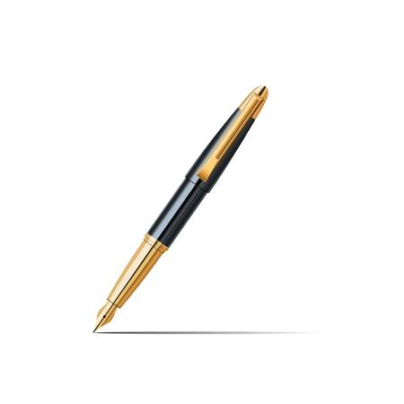 Black gold pen on white background Ilustracja