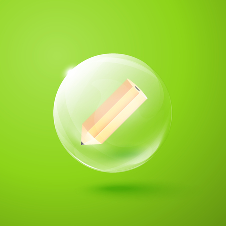 Transparent sphere with pencil inside Vector