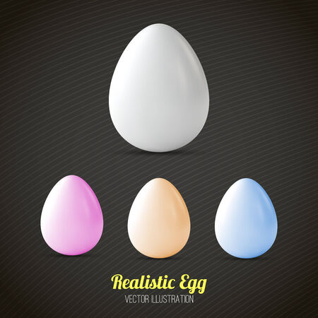 realistic easter eggs set Vector