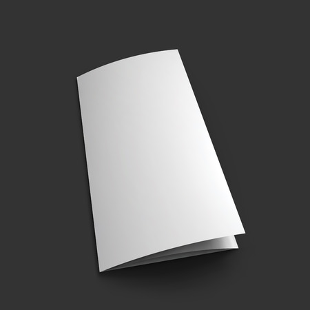 Blank trifold paper brochure mockup template. Иллюстрация