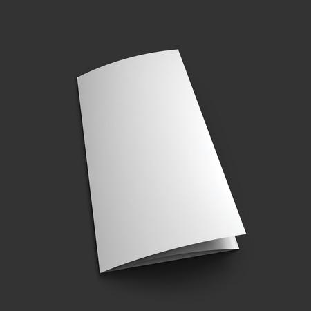 mockup: Blank trifold paper brochure mockup template. Illustration