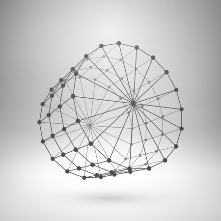 Wireframe mesh polygonal element. Cylinder with connected lines and dots.  Vector