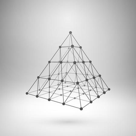 conectar: Wireframe malla elemento poligonal. Pirámide con líneas conectadas y puntos. Vectores