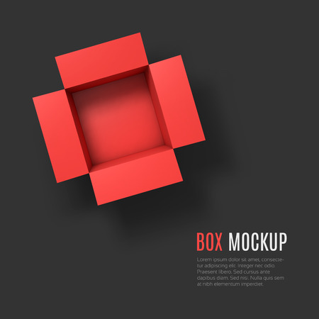 ship parcel: Open box mockup template.