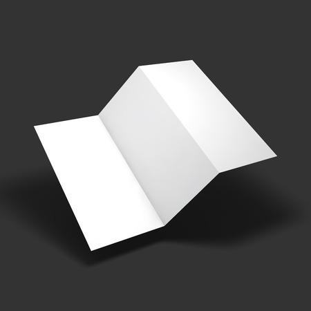 空白 3 つ折り紙パンフレット モックアップ。