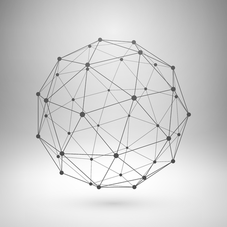esfera: Wireframe malla elemento poligonal. Esfera con líneas conectadas y puntos.