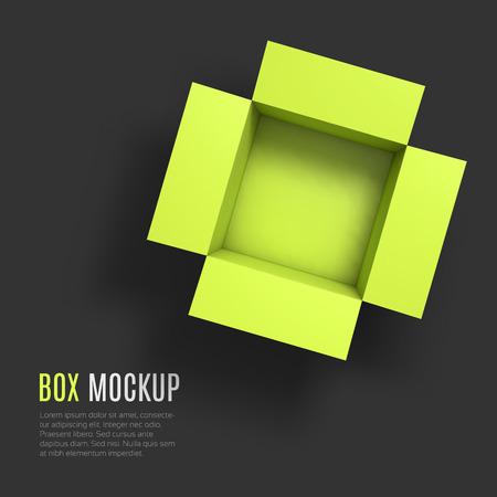 boite carton: Ouvrez la bo�te de mod�le maquette. Vue d'en haut. Illustration Vecteur EPS10. Illustration