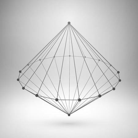 Wireframe mesh polygonal element. Cone with connected lines and dots. Vector Illustration EPS10.