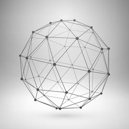 esfera: Wireframe malla elemento poligonal. Esfera con líneas conectadas y puntos. Ilustración vectorial EPS10.