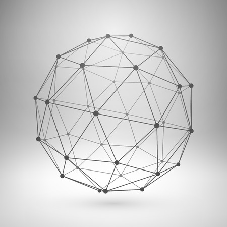 wire mesh: Wireframe mesh polygonal element. Sphere with connected lines and dots. Vector Illustration EPS10.