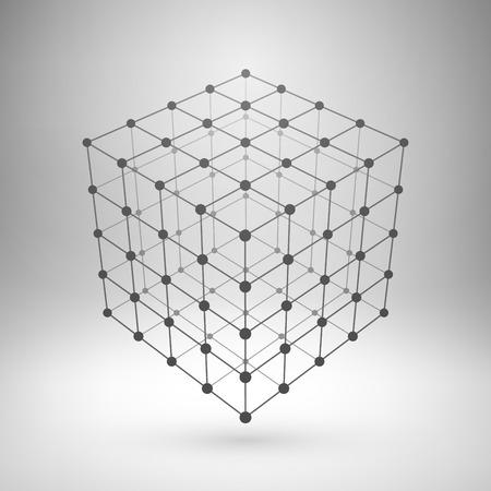 objetos cuadrados: Wireframe malla elemento poligonal. Cubo con líneas conectadas y puntos.