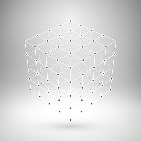 Wireframe mesh polygonal element. Cube with connected lines and dots.  Ilustração