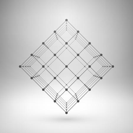 ワイヤ メッシュの多角形要素。接続された直線と点とキューブします。