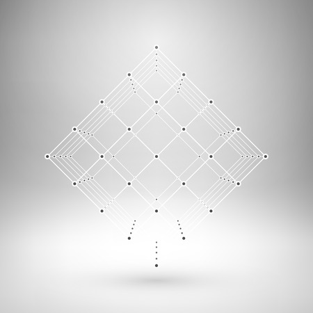 eps10: Wireframe mesh polygonal element. Cube with connected lines and dots. Vector Illustration EPS10.