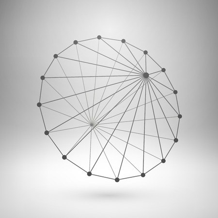 Wireframe mesh polygonal element. Cone with connected lines and dots. Vector Illustration.