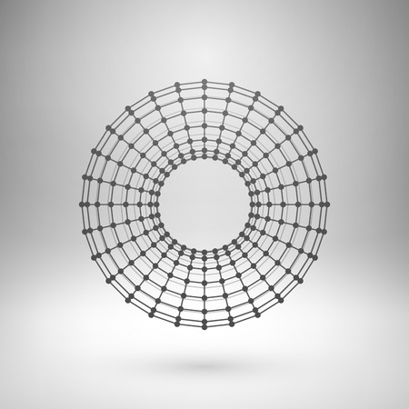 torus: Wireframe mesh polygonal element. Torus with connected lines and dots