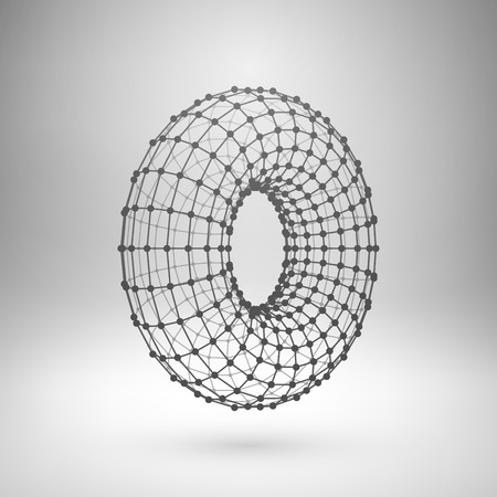 Wireframe mesh polygonal element. Torus with connected lines and dots. Vector Illustration
