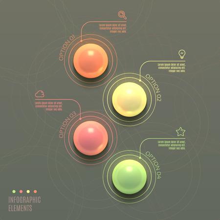ビジネス Infographics ボールのコンセプトです。3 d ベクター イラストです。Web デザインとワークフロー レイアウトに使用することができます。  イラスト・ベクター素材
