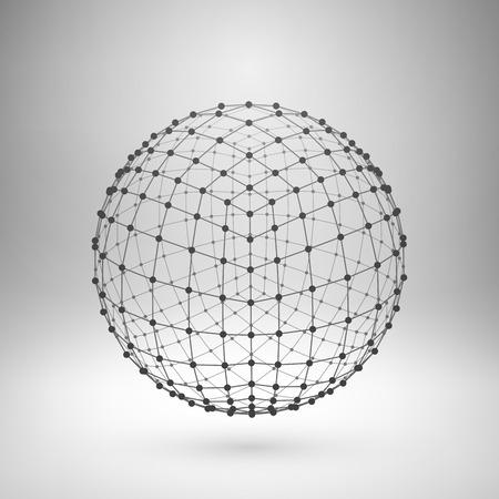 Wireframe malla elemento poligonal. Esfera con líneas conectadas y puntos. Ilustración del vector.