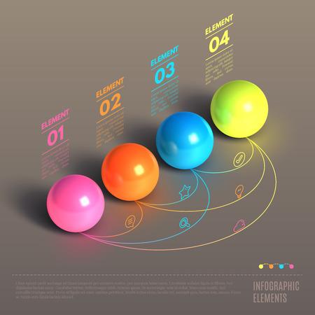 비즈니스 infographics입니다 공 개념. 3D 아이소 메트릭 벡터 그림. 웹 디자인 및 워크 플로우 레이아웃을 사용할 수 있습니다 일러스트
