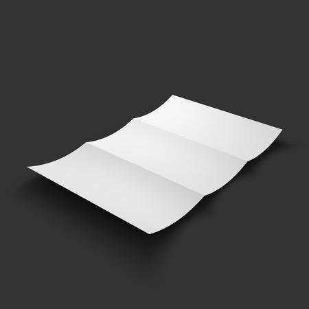paper fold: Blank tri fold paper brochure mockup.