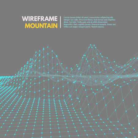 montane: Wireframe mesh polygonal surface. Mountains with connected lines and dots.