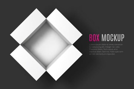 Open box mockup template. Top view. Vector Illustration . Иллюстрация