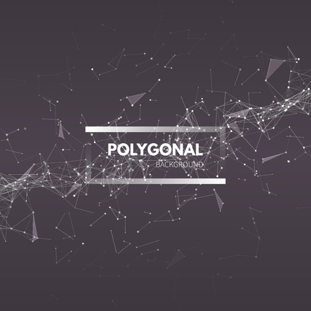 ワイヤ メッシュのポリゴン背景。接続された直線と点を持つ抽象的なフォーム。ベクトル図 EPS10。