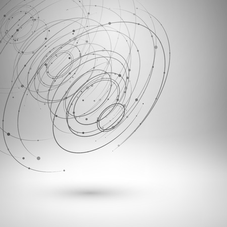 3d circle: Wireframe mesh element. Abstract swirl form with connected lines and dots. Vector Illustration .