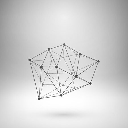 connect: Wireframe mesh polygonal element. Abstract form with connected lines and dots. Vector Illustration . Illustration