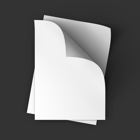 Stack of pages with curved corners. Top view. Business mockup template. Presentation of your branding and identity design. Vector Illustration .
