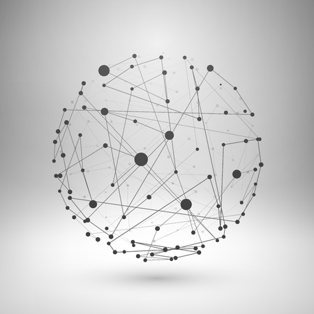 Wireframe mesh polygonal element. Sphere with connected lines and dots. Vector Illustration .