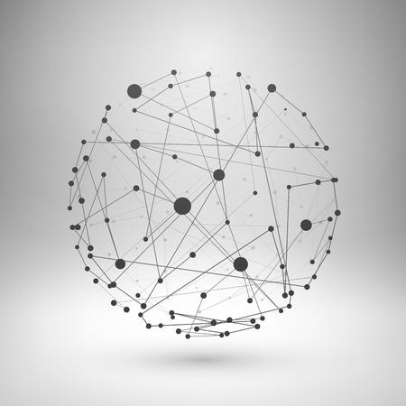 globo: Wireframe maglia elemento poligonale. Sfera con linee collegate e punti. Illustrazione vettoriale.