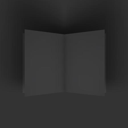 blank magazine: Black blank magazine spread. Business mockup template. Presentation of your branding and identity design. Vector Illustration .