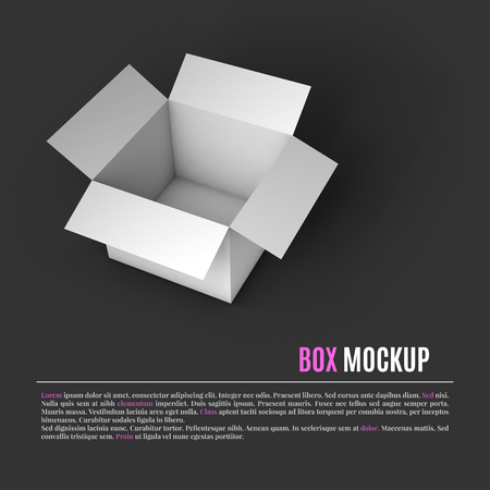 shipped: Open white box mockup template. Can be used to deliver your goods. Vector Illustration .