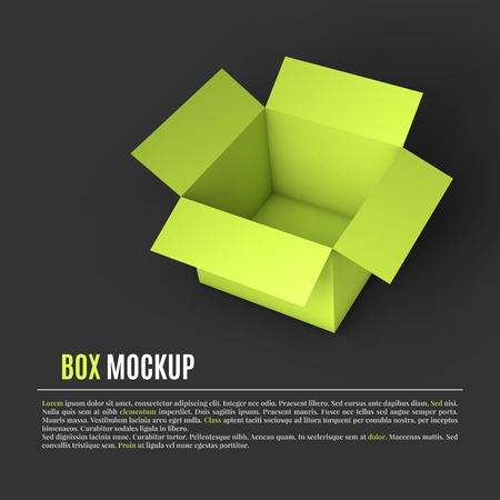 Open green box mockup template. Can be used to deliver your goods. Vector Illustration . Иллюстрация