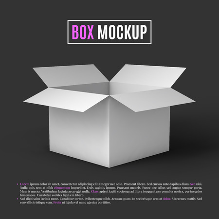 tektura: Otwórz białe pudełko makieta szablon. Może być używany do dostarczania towarów. Ilustracja wektora. Ilustracja