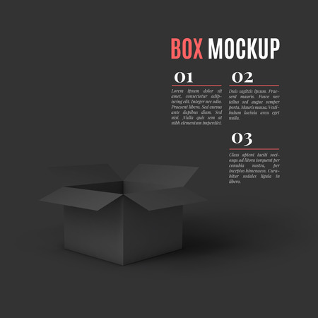 shipped: Open black box mockup template. Can be used to deliver your goods. Vector Illustration . Illustration