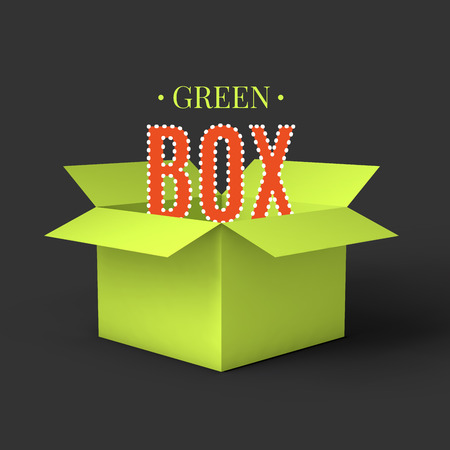 Open green box mockup template. Can be used to deliver your goods. Vector Illustration . Çizim