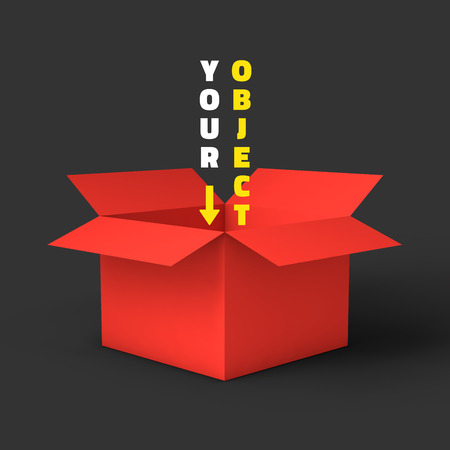 オープンの赤いボックスのモックアップ テンプレート。使用して、あなたの商品を提供することができます。ベクトルの図。  イラスト・ベクター素材