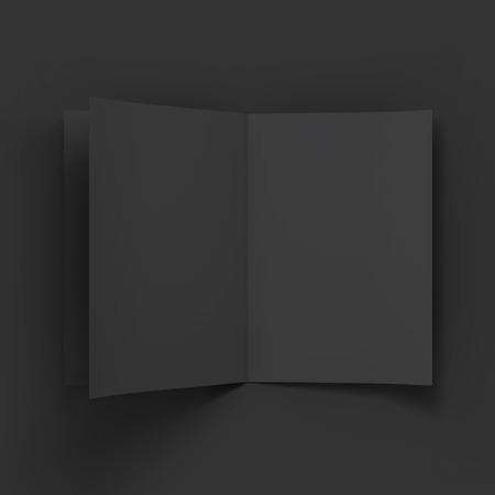 magazine stack: Black blank magazine spread. Business mockup template. Presentation of your branding and identity design. Vector Illustration .