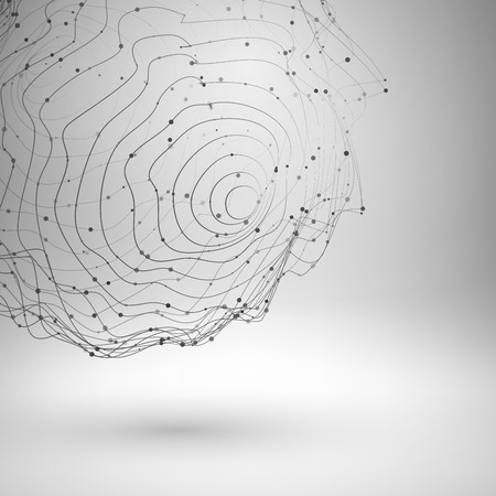 Wireframe mesh element. Abstract form connected lines and dots. Vector Illustration .