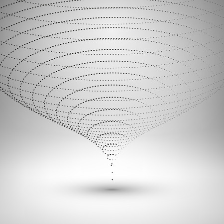 Wireframe mesh element. The funnel consisting of points. Vector Illustration . 일러스트