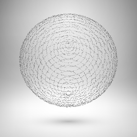 3d atom: Wireframe mesh element. The sphere consisting of points. Vector Illustration .
